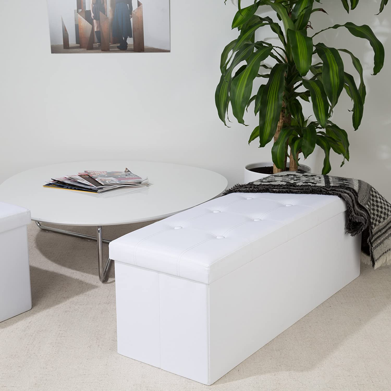Faux Leather White LEVIVO Foldable Sitting Stool Rectangle 110 x 38 x 38 cm