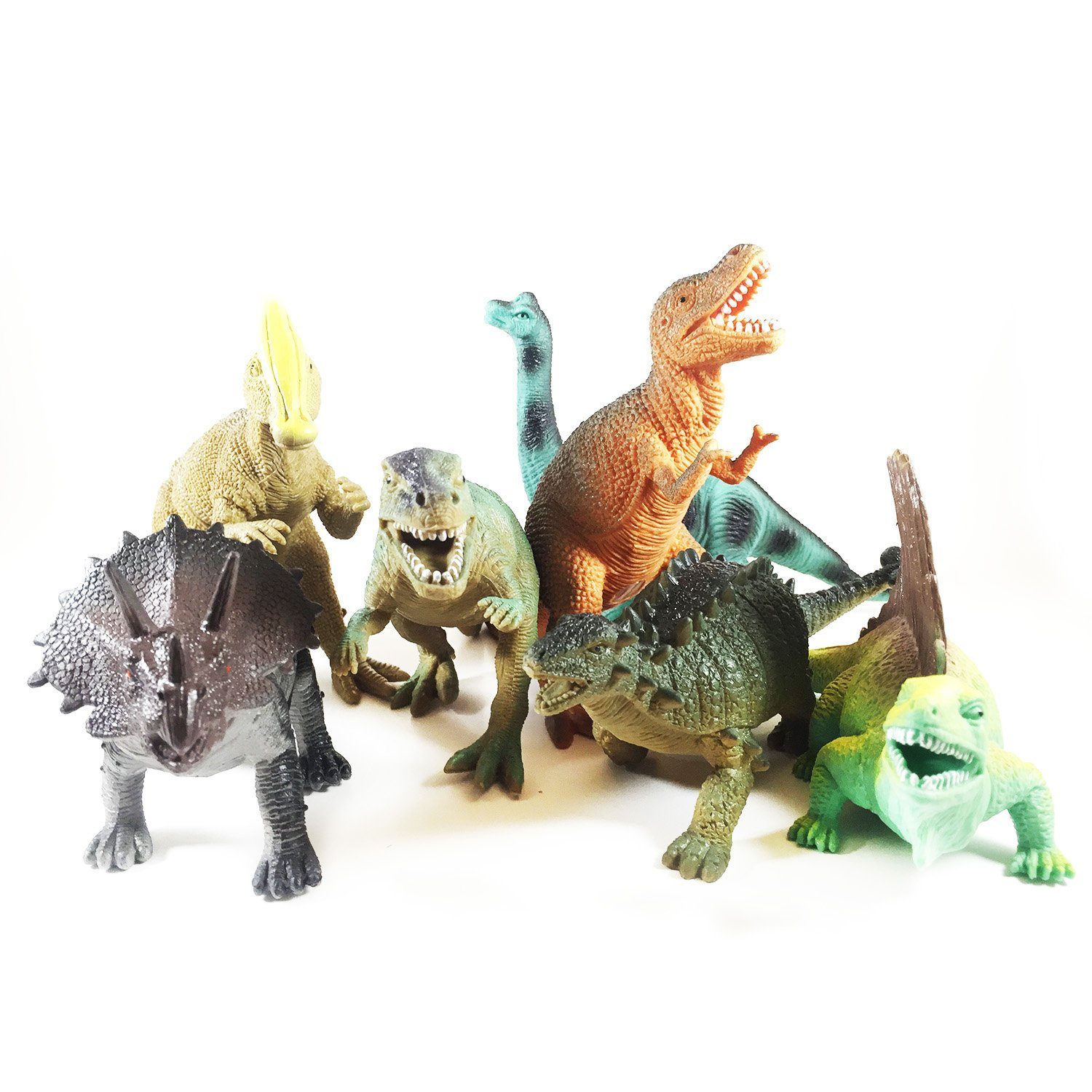 "Educational Dinosaurs 12 pack by Boley kids 7"" tall realistic"