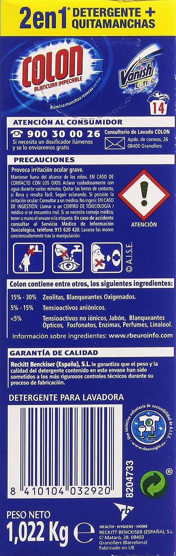 Colon Detergente polvo con Vanish, 26 lavados - 1898 gr ...