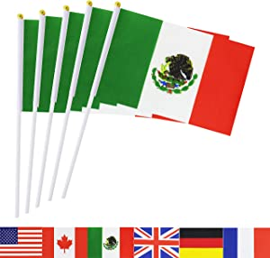 Mexico Stick Flag,TSMD 50 Pack Hand Held Small Mexican National Flags On Stick,International World Country Stick Flags Banners,Party Decorations For World Cup,Sports Clubs,Festival Events Celebration