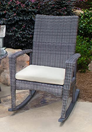 Amazoncom Tortuga Outdoor Bayview Wicker Rocking Chair Grey