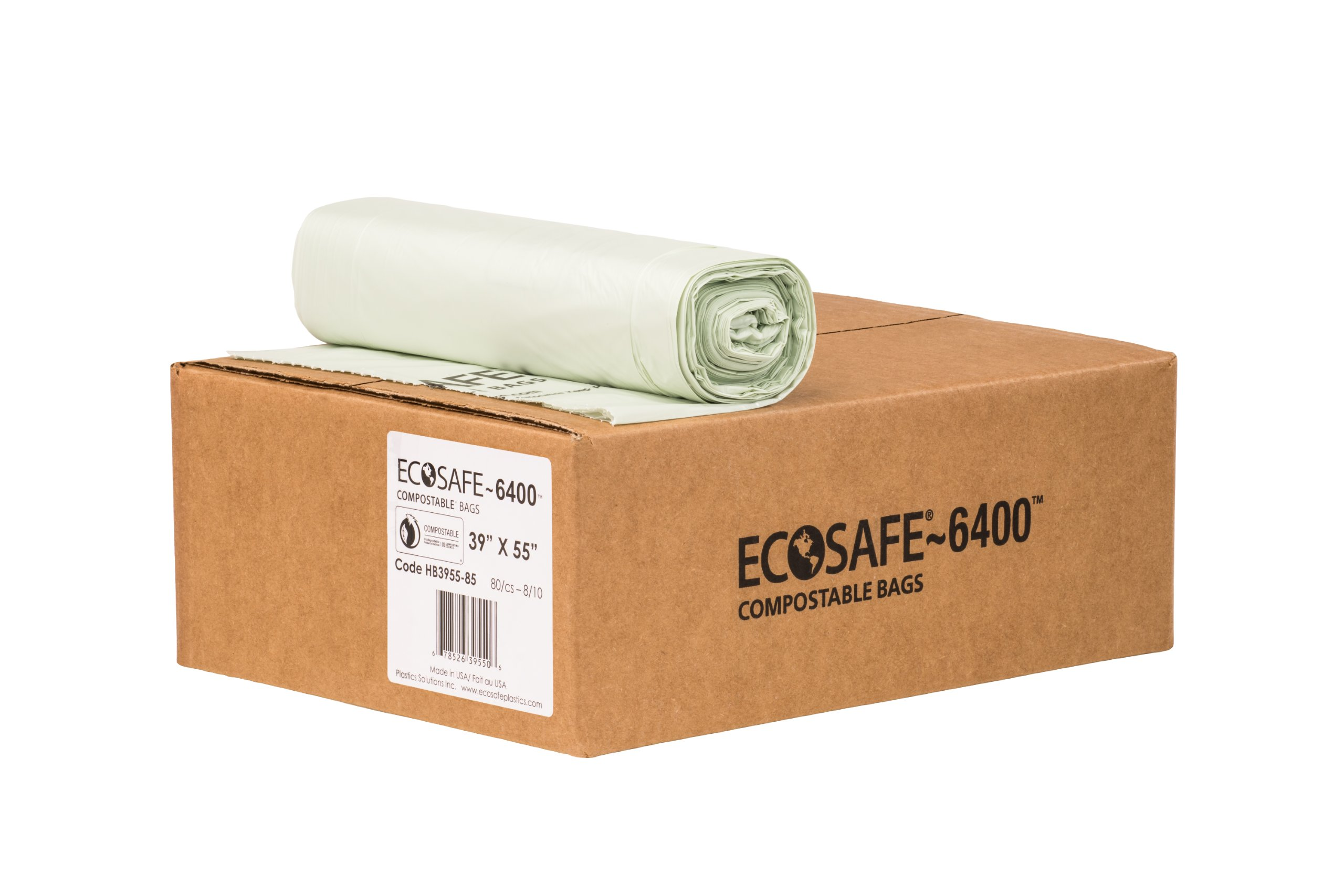 EcoSafe-6400 HB3955-85 Compostable Bag, Certified Compostable, 48-Gallon, Green (Pack of 80)