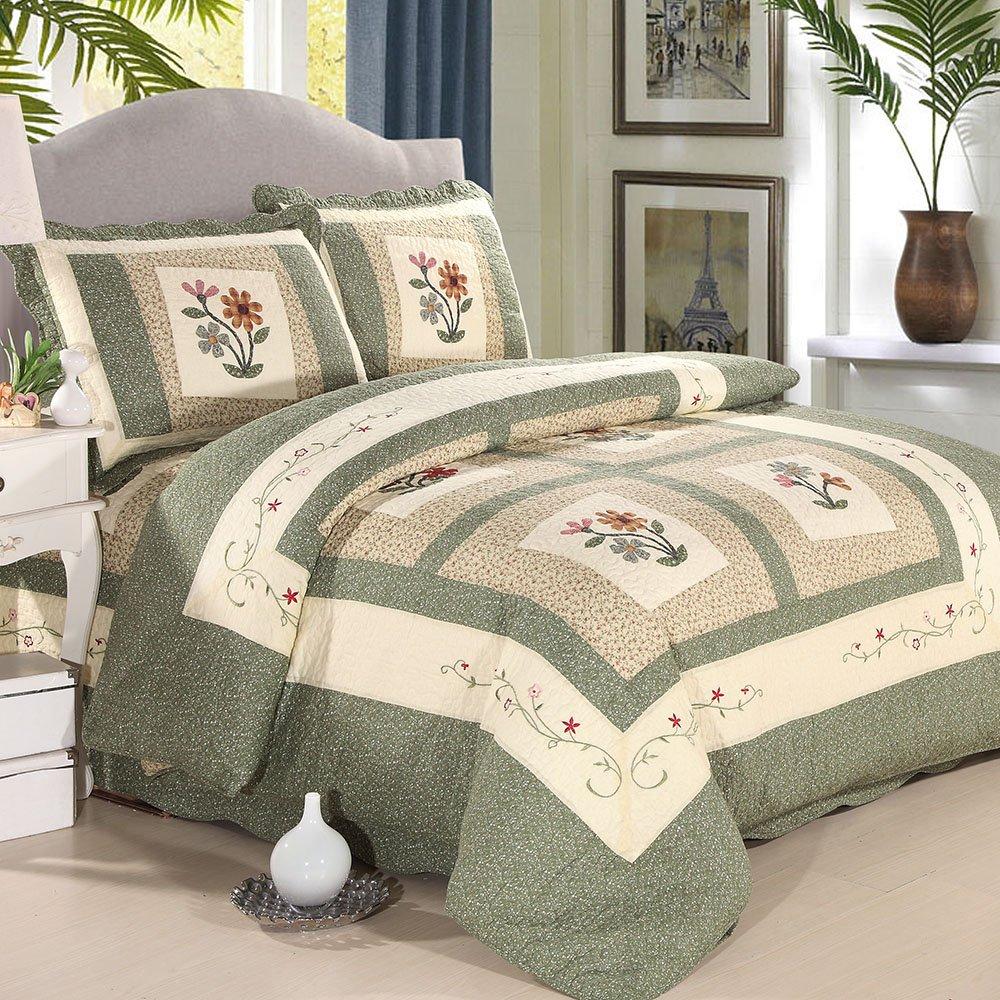 EnjoyBridal® Tagesdecke Patchwork Decke 100% Baumwolle Blumen Druckstoff Druckdessiniert Quilt Bettdecke Idyllisch Bettüberwurf Bettwächse 220x240cm  240x260cm (220x240cm)