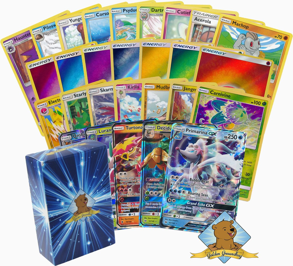 150 Random Pokemon Card Lot! 100 Pokemon Cards – GX & Foils – 50 Energy Cards – Pokemon Coin! Includes Golden Groundhog Deck Box! GoldenGroundhog