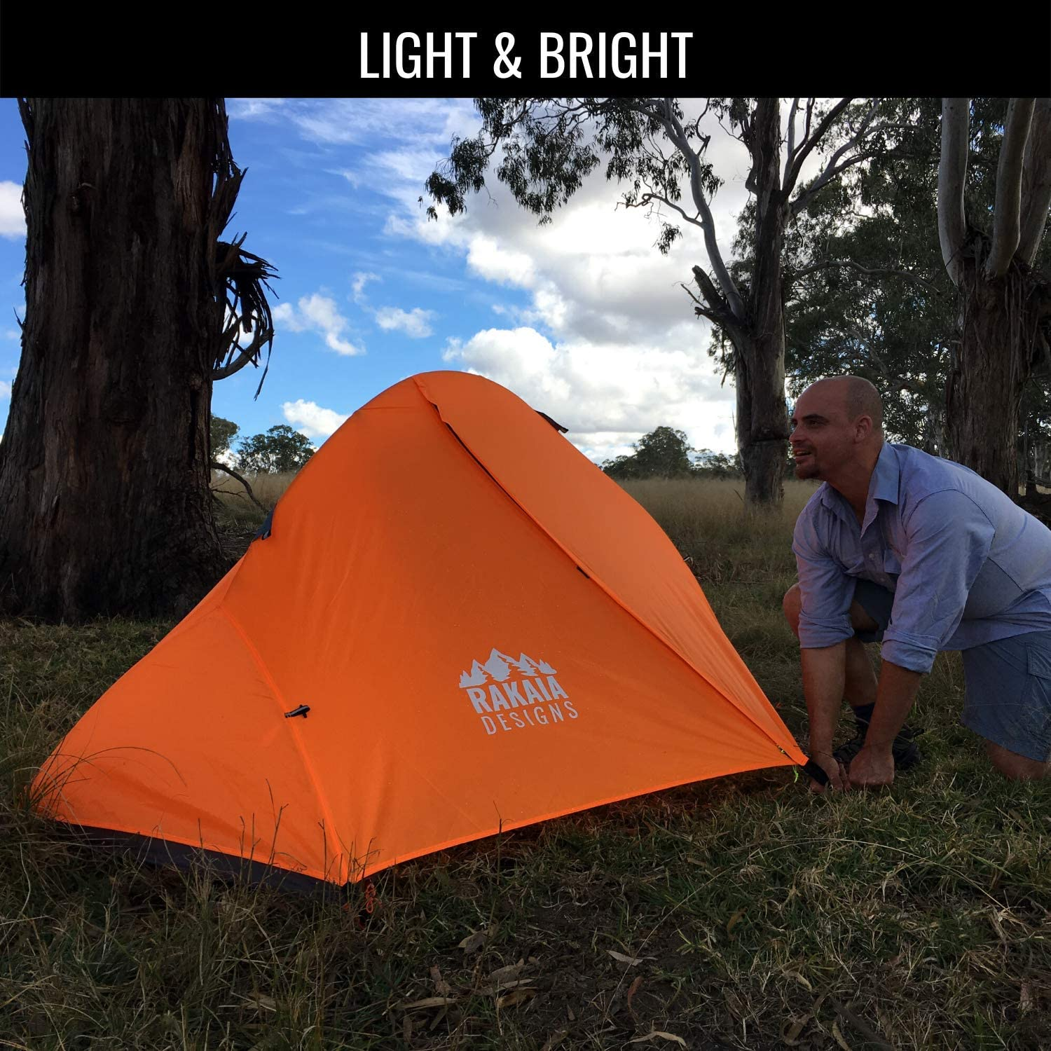 1 Person Lightweight Backpacking Tent with Stakes /& Guys 3-4 Season Free Standing Camping Hiking Waterproof Backpack Tent