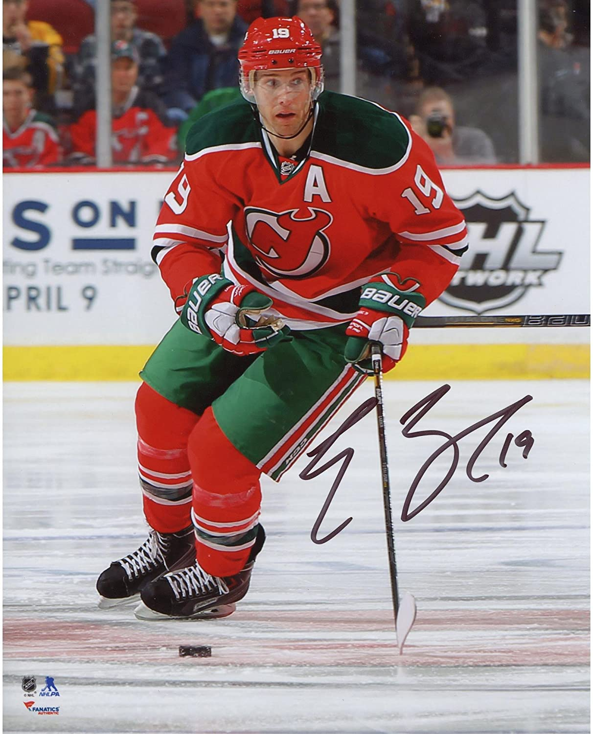 e8c3fe2a3 Travis Zajac New Jersey Devils Autographed Red Jersey with Green Pants 8
