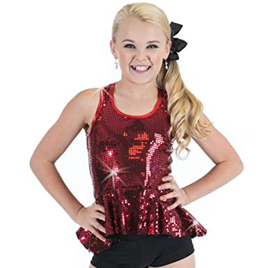 8d78e9f1943e Amazon.com: Gia Mia Women's Sequin Peplum Dance Costume Recital Performance  Jazz Tank Top: Clothing