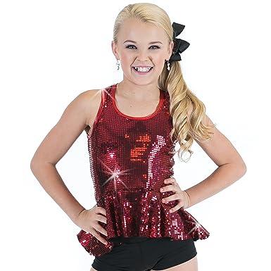 d6105c9a0 Amazon.com: Gia Mia Girl's Sequin Peplum Dance Costume Recital Performance  Jazz Tank Top: Clothing
