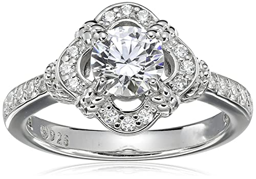 Platinum-Plated Sterling Silver Swarovski Zirconia Antique Frame Halo Ring