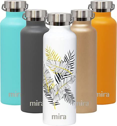 Mira Alpine Stainless Steel Vacuum Insulated Water Bottle With 2 Lids Sports Thermos Flask Keeps Cold 24 Hours Hot 12 Hours Reusable Hydro Bottle 25 Oz 750 Ml Palm Leaves Kitchen Dining