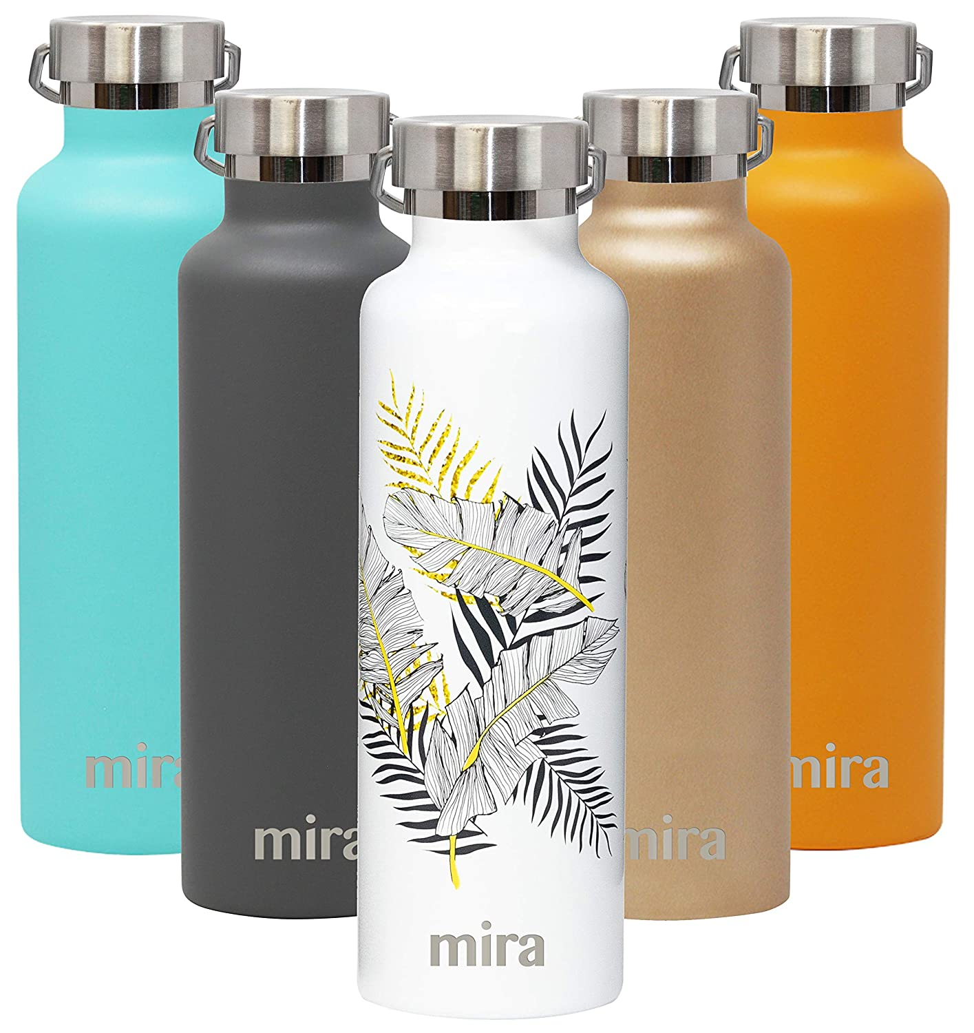 MIRA Alpine Stainless Steel Vacuum Insulated Water Bottle with 2 Lids, Sports Thermos Flask Keeps Cold 24 Hours, Hot 12 Hours (25 Ounce, Palm Leaves)
