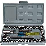 """MultiWare–Set di chiavi a bussola da 3/8""""e 1/4"""" """"Tool Kit Chiave a cricchetto Barra di estensione, 40pezzi"""