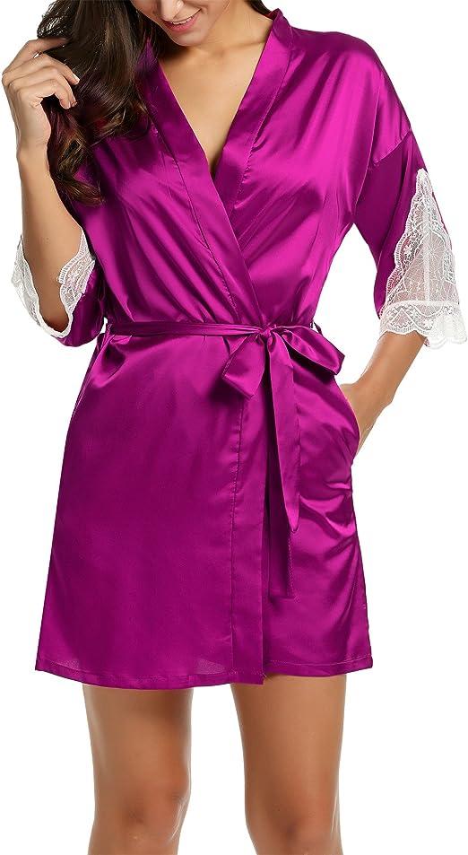 BeautyUU – Albornoz para mujer, satén sexy, kimono con bolsillos, corto, túnica con cinturón, camisón de noche para novia con encaje de flores