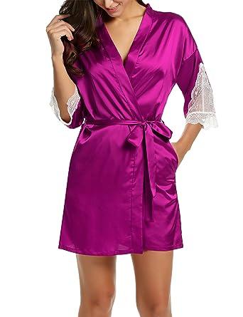 7569082d8a Hotouch Women s Kimono Satin Chemise Sleepwear Dressing Gown Bath Robe  Nightwear Pyjamas Pyjama Set with Lace