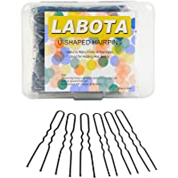 LABOTA 200 Packs U-Shaped HairPins Bobby Pins HairClips with a Clear Box for Hairdressing; Black; 6CM