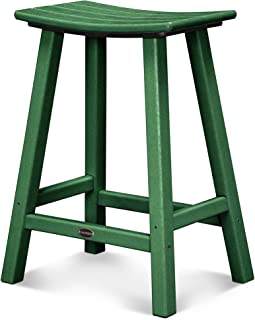 product image for POLYWOOD 2001-GR Traditional Counter Height Saddle Seat Barstool, Green