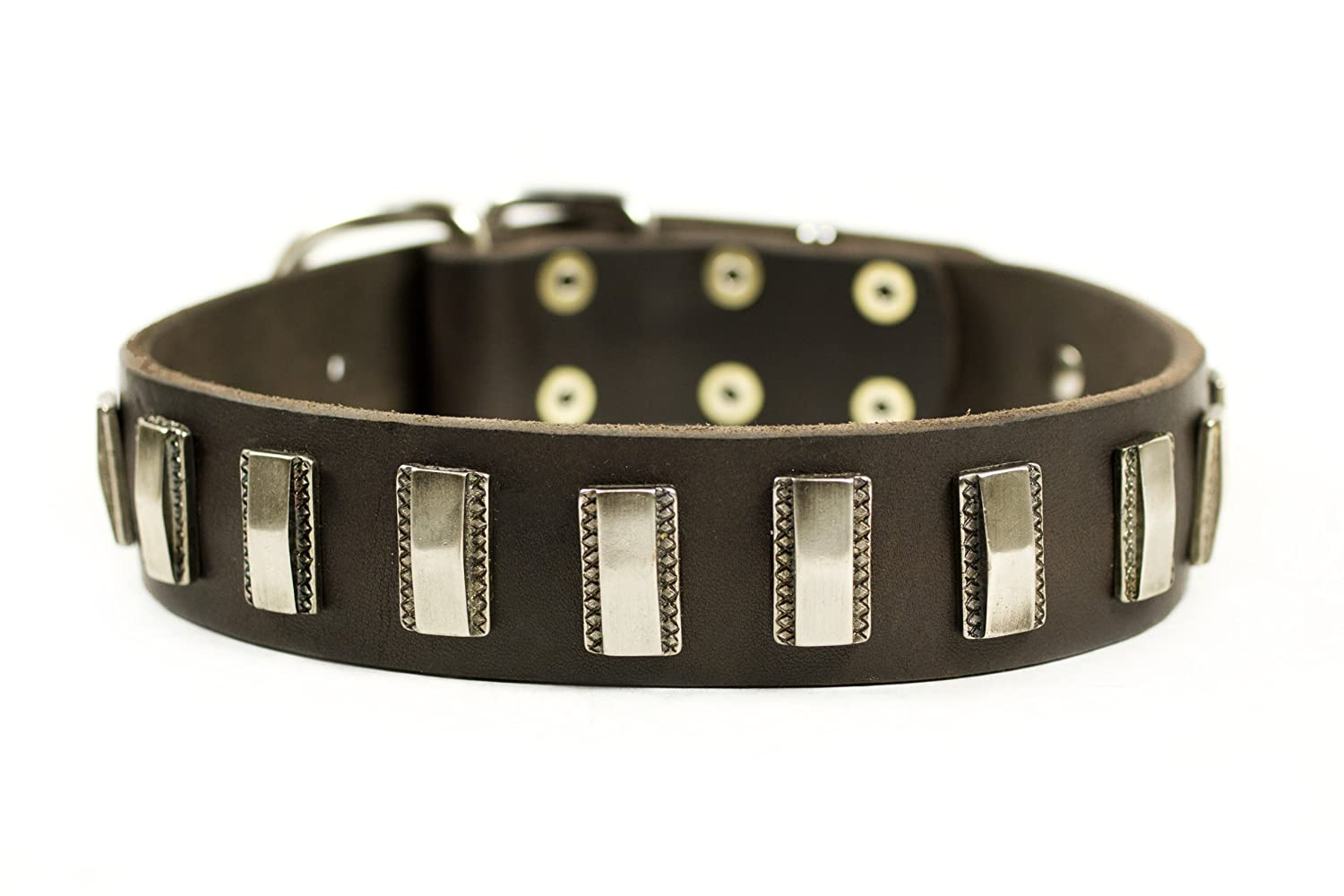 Dean and Tyler SILVER FIRE, Leather Dog Collar with Strong Nickel Plates, Brown, Size 26-Inch by 1-1 2-Inch, Fits Neck 24-Inch to 28-Inch