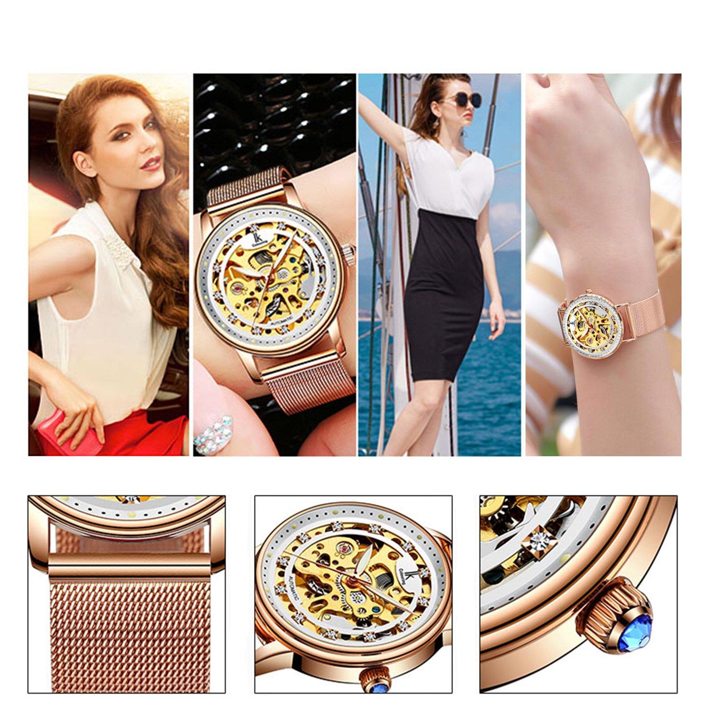 Womens Watch,Stone Automatic Dress Watch Luxury Skeleton Wrist Watch for Lady,Rose Gold Tone by Stone (Image #7)