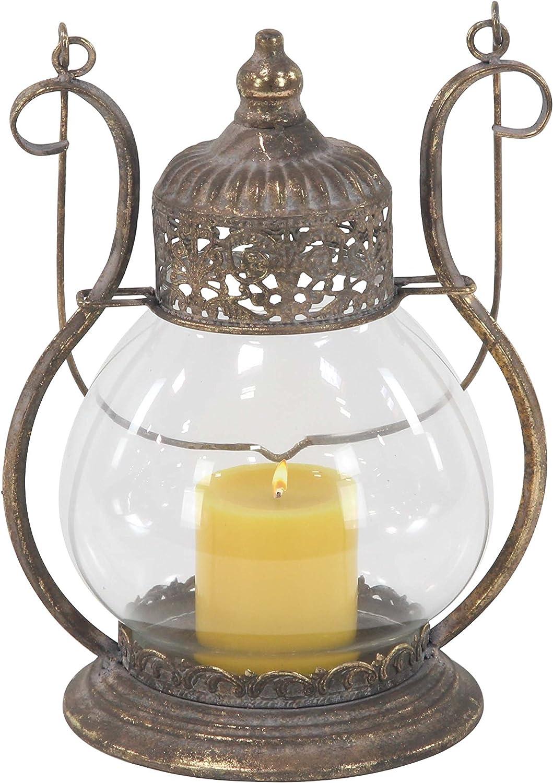 Tarnished Brass Deco 79 29558 Candle Lantern