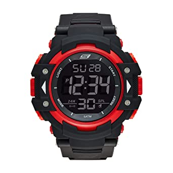 Skechers Mens Keats Quartz Plastic and Nylon Digital Watch Color: Black, Red (Model
