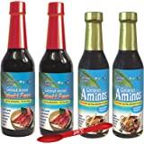 Coconut Aminos Variety Pack by Coconut Secret: (2) Coconut Aminos Soy Free Sauce, 8 Oz. (2) Gluten Free Teriyaki Sauce, 10 Oz., Great for Chicken Marinade, Stir-fry and Asian Food. [4 Count]