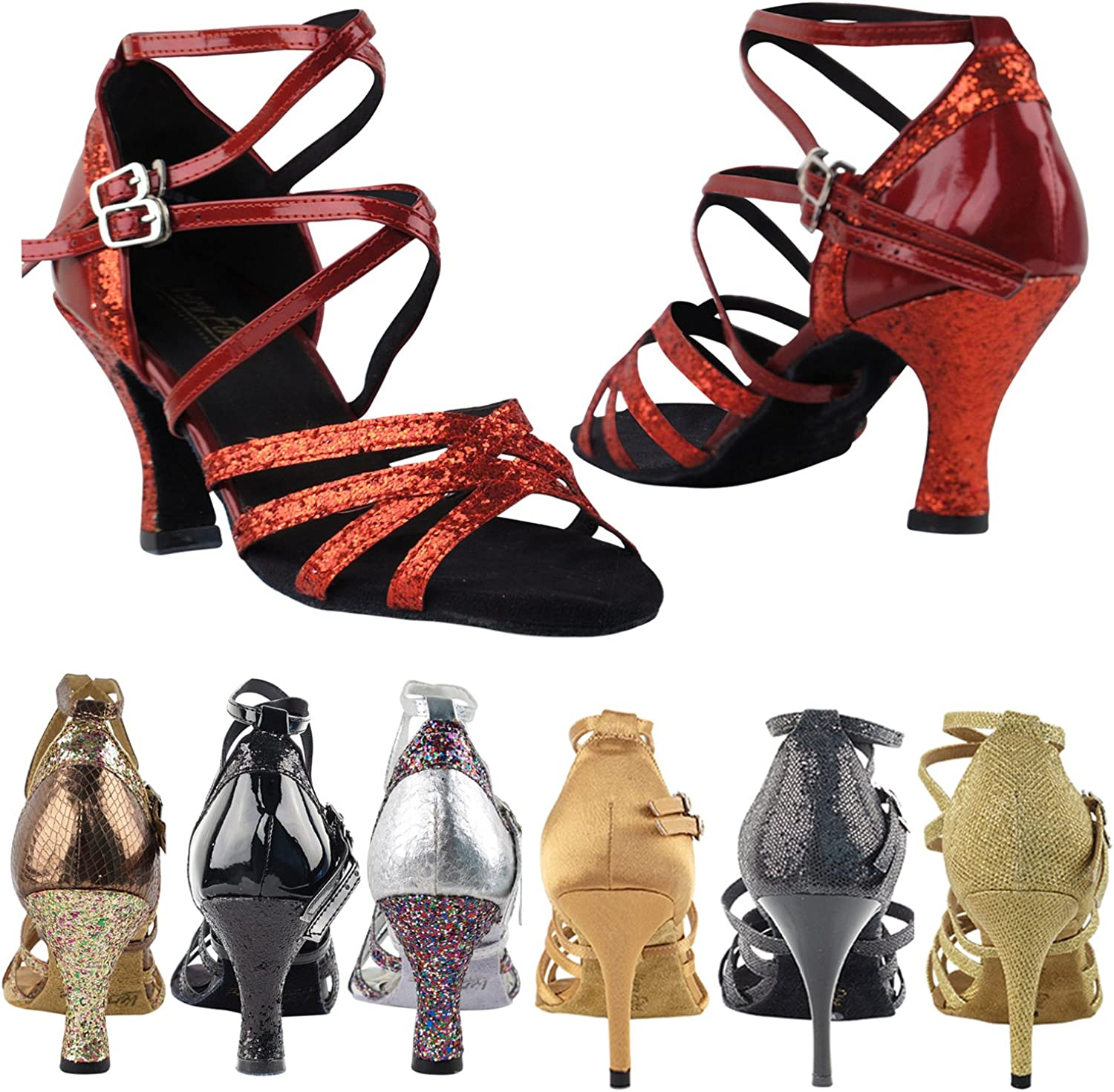 3 Heel Size 8 Red Sparkle /& Red Patent GP 50 Shades 5008Mirage Dance Dress Shoes