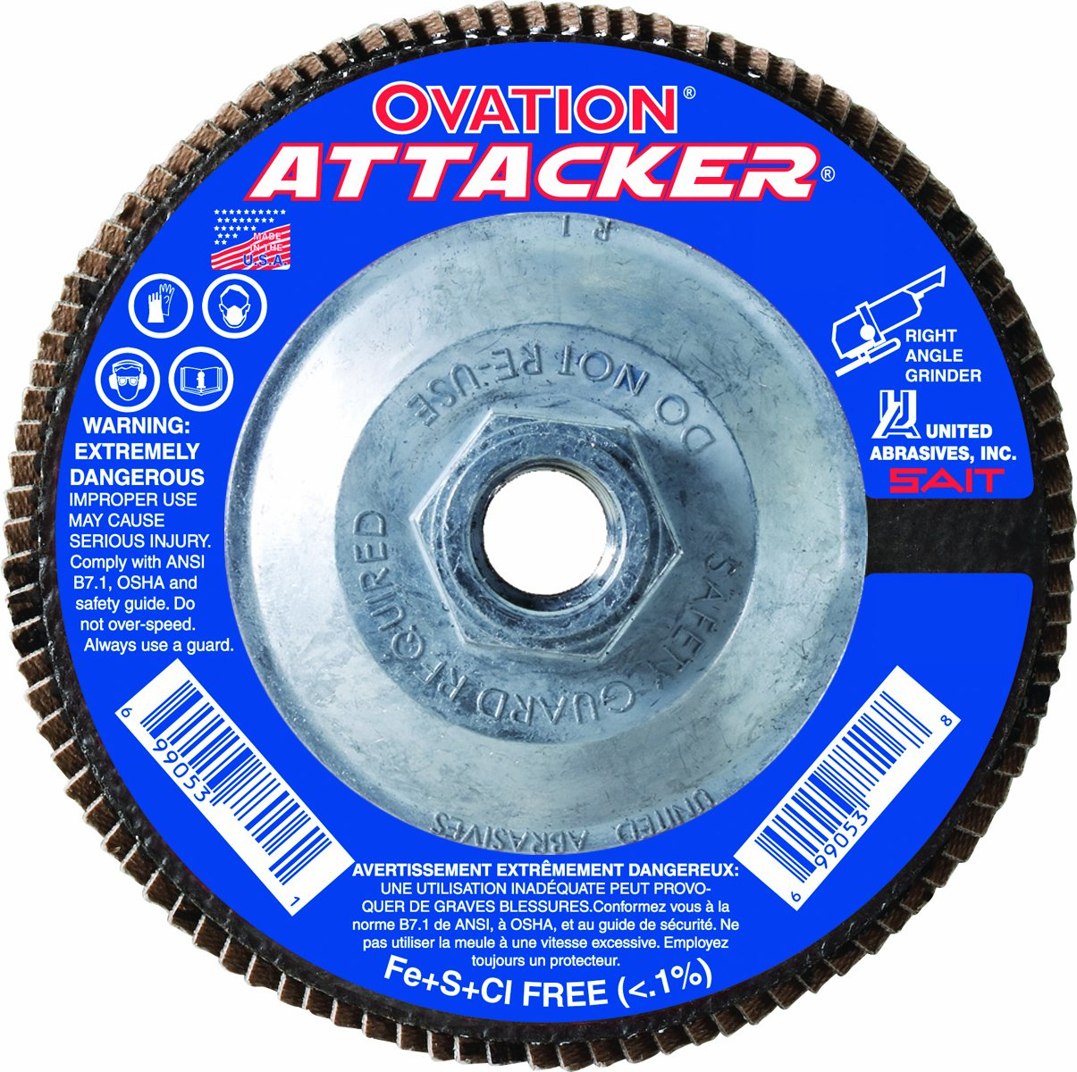United Abrasives- SAIT 76341 Ovation Attacker Flap Disc, 5 x 5/8-11 Z 120x, 10 Pack