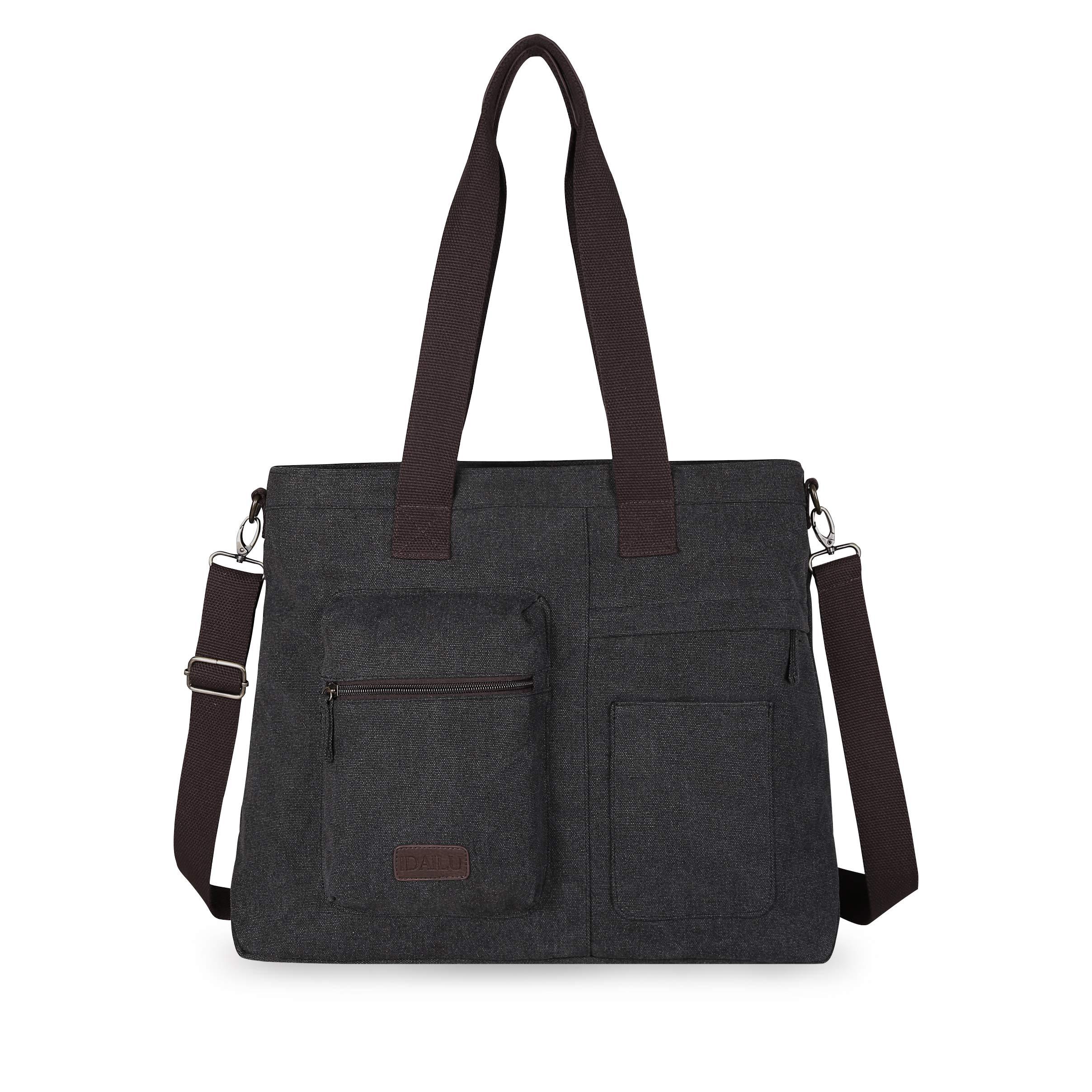 IDAILU Large Canvas Tote Bag Casual Daily Cross-body Hobo Handbags with Detachable Shoulder Strap (Black) by IDAILU