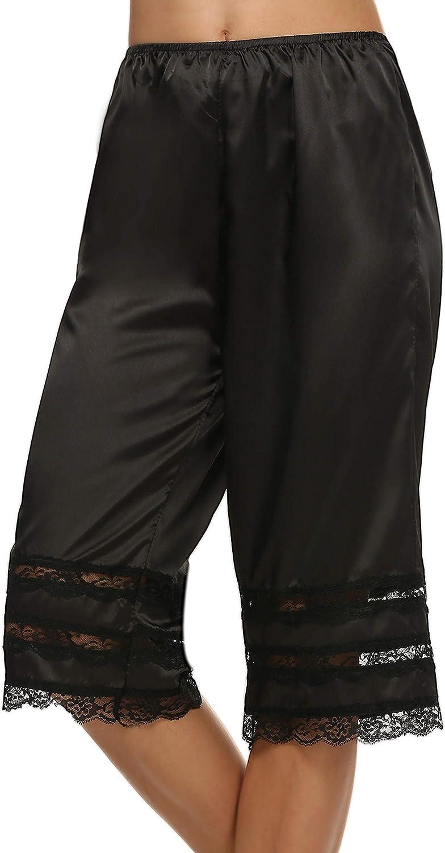 Avidlove Women Lingerie Satin Lace Pettipants Snip-it Culottes Slips Bloomers Split Skirt