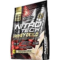 MuscleTech NitroTech 纯乳清金,分离乳清和多肽,法国香草奶油,8 磅(3.6 千克)