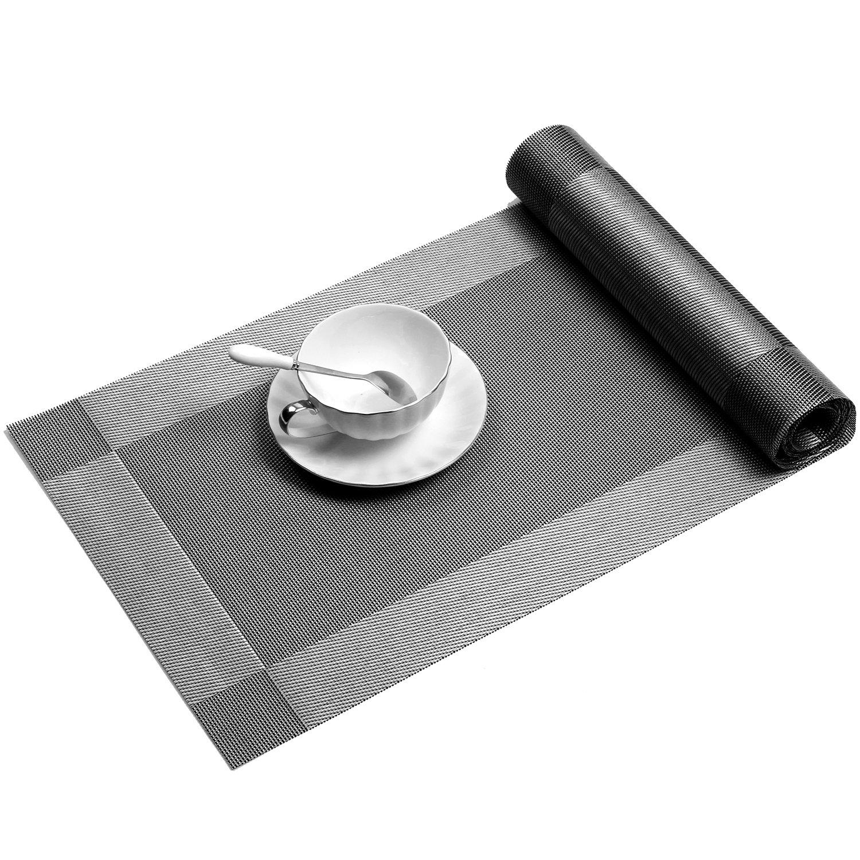 Placemat,U'Artlines Crossweave Woven Vinyl Non-slip Insulation Placemat Washable Table Mats Set of 6 (6pcs placemats, Grey) by U'Artlines (Image #6)