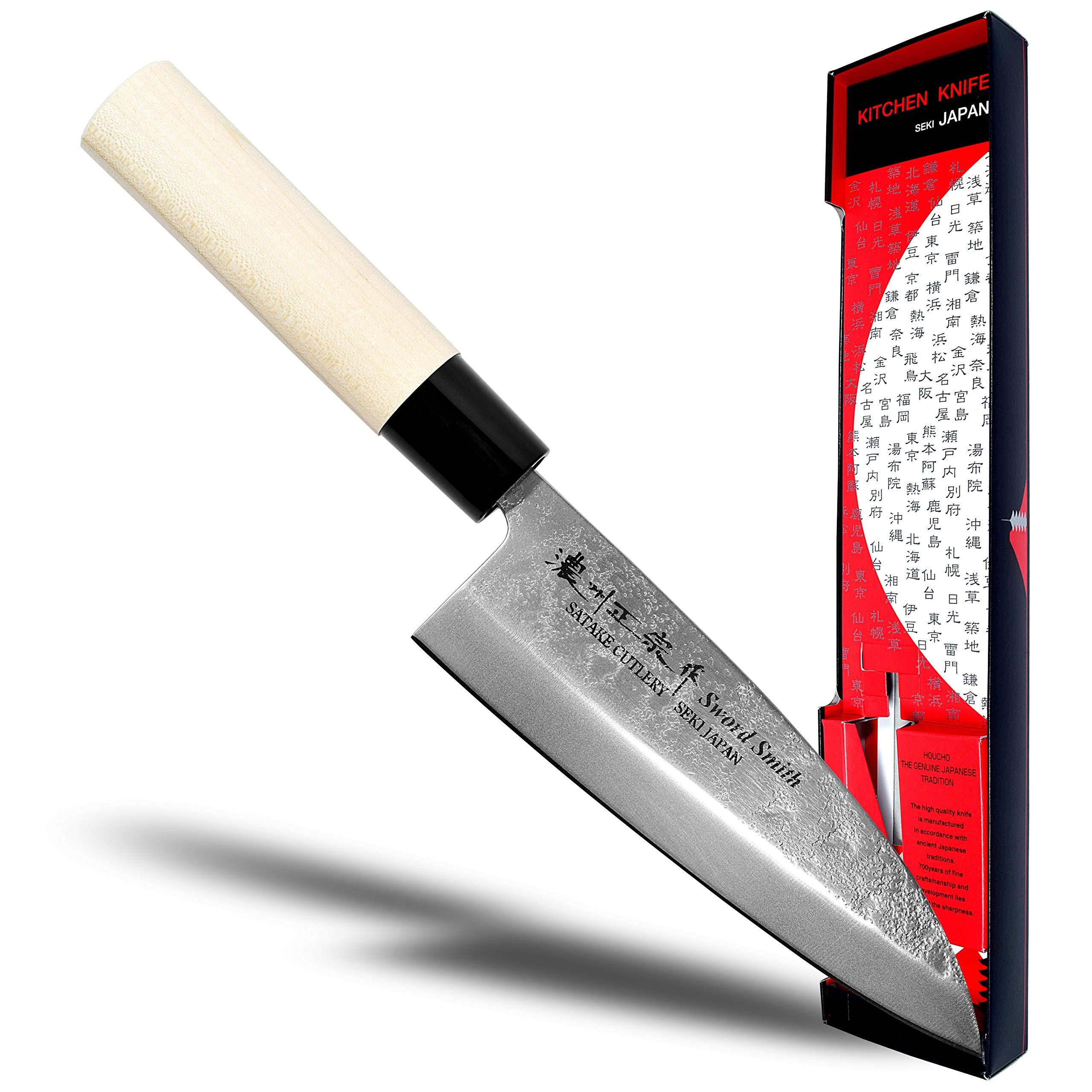 Seki Japan MASAMUNE, Japanese Sushi Chef Knife, Nashiji Stain Finish Stainless Steel Sashimi Deba Knife, Shiraki Handle, 6.1 inch (155mm) by product of gifu japan