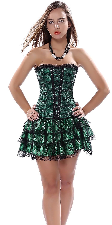 Blidece Womens Fashion Plus Size Lace Strapless Up Boned Corset Bustier Bridal Lingerie Tutu Skirt