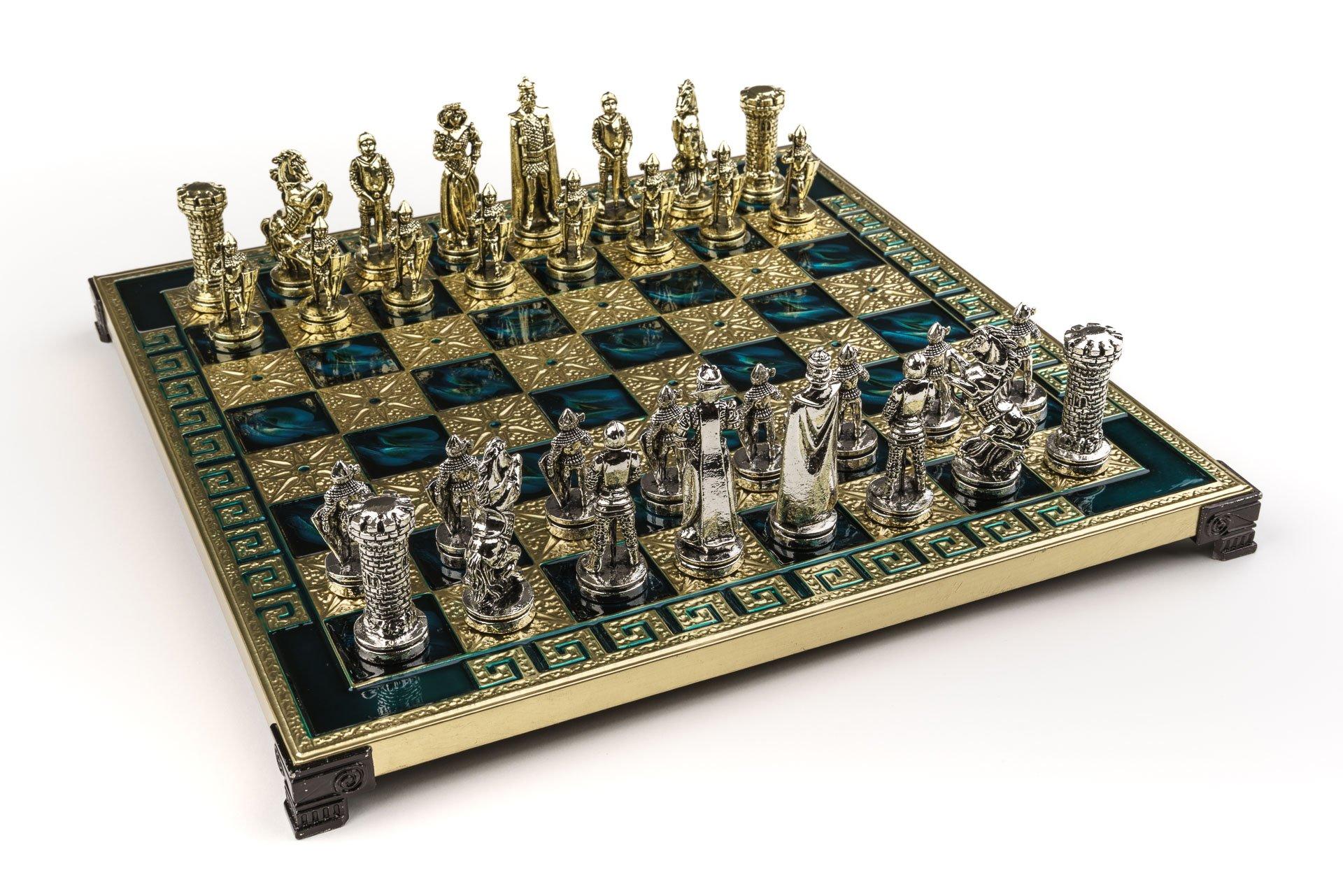 Handmade Maria Stuart Metal Chess Set in Wooden Box