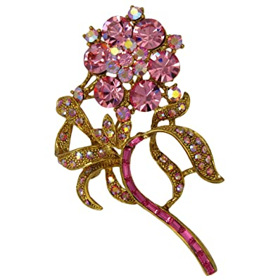 Amazon com: Complementary Flower Brooch with Dazzling