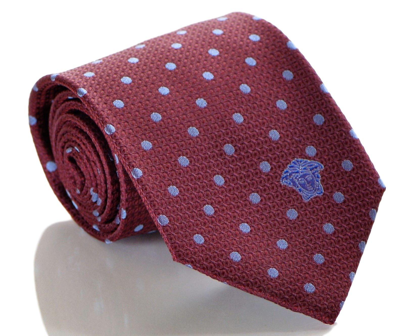 Versace Mens Polka Dot Woven Silk Necktie Burgundy Blue
