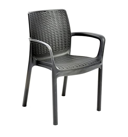 Keter Bali 6 Seater Outdoor Garden Stacking Chairs   Graphite