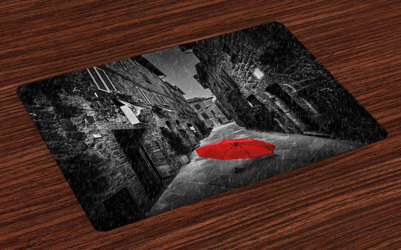 Ambesonne フォールプレイスマット 4枚セット 異なる色彩豊富な秋のメープルリーフ 11月の自然な景色写真 洗濯可能な布製プレースマット ダイニングルーム キッチン テーブル装飾 イエローパープル 12.5