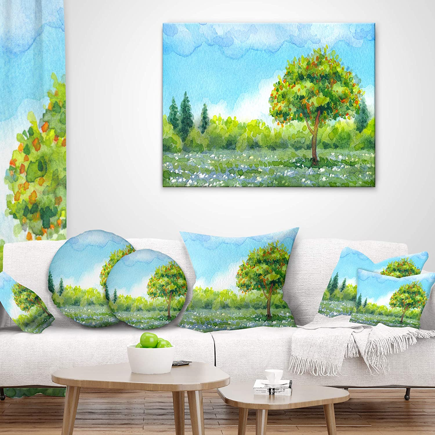 Designart CU7314-26-26 Tree in Spring Watercolor Painting Landscape Printed Cushion Cover for Living Room 26 x 26 Sofa Throw Pillow