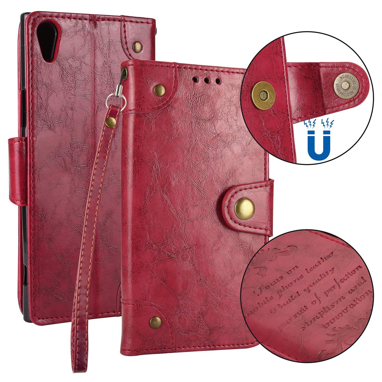 Sony Xperia XA1 Ultra Case Retro, Lomogo Leather Wallet Case Retro, with Kickstand Card Holder Shockproof Flip Case Retro, Cover for Sony Xperia XA1 Ultra - LOHHA10332 Brown