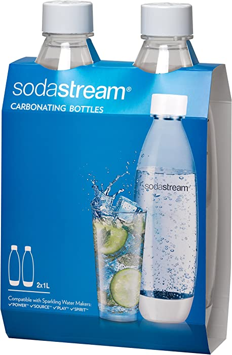 SodaStream White 1L Slim Carbonating Bottles Twin Pack, 1-Liter