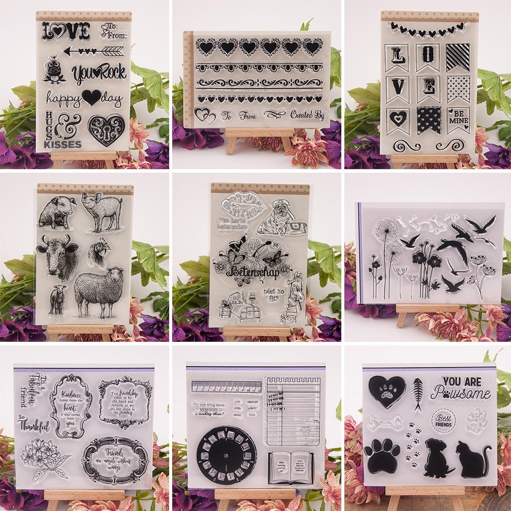 Sellos claros para /álbum de Fotos DIY Scrapbooking Sello de Silicona B/úho de Dibujos Animados SimpleLife Sellos Transparentes