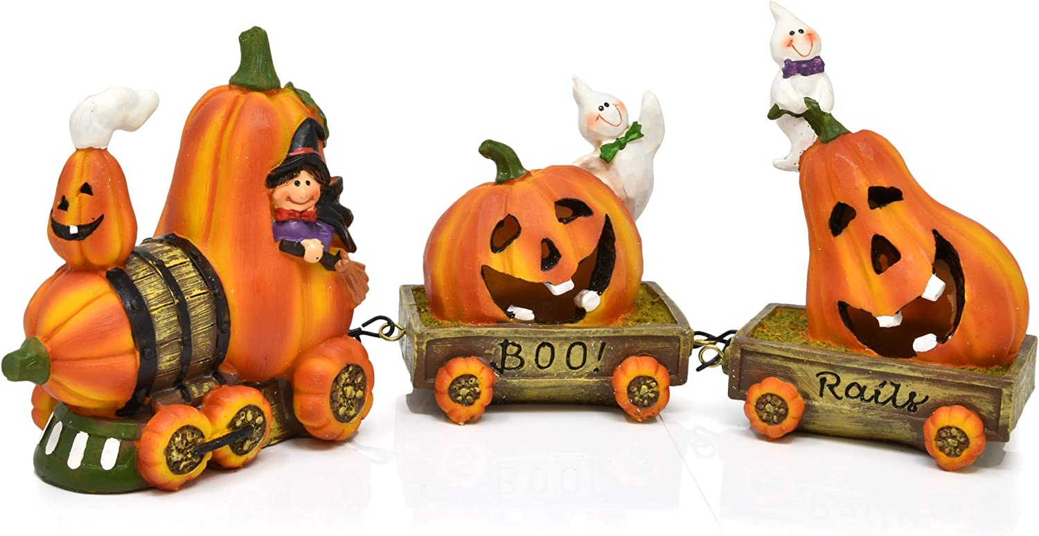 Gift Boutique Halloween Express Train Table Decor - 3-Piece Set Mini Stone Resin Figurines for Office Desk Shelf Kitchen Mantle Centerpiece Holiday Home Tabletop Decoration Collectibles