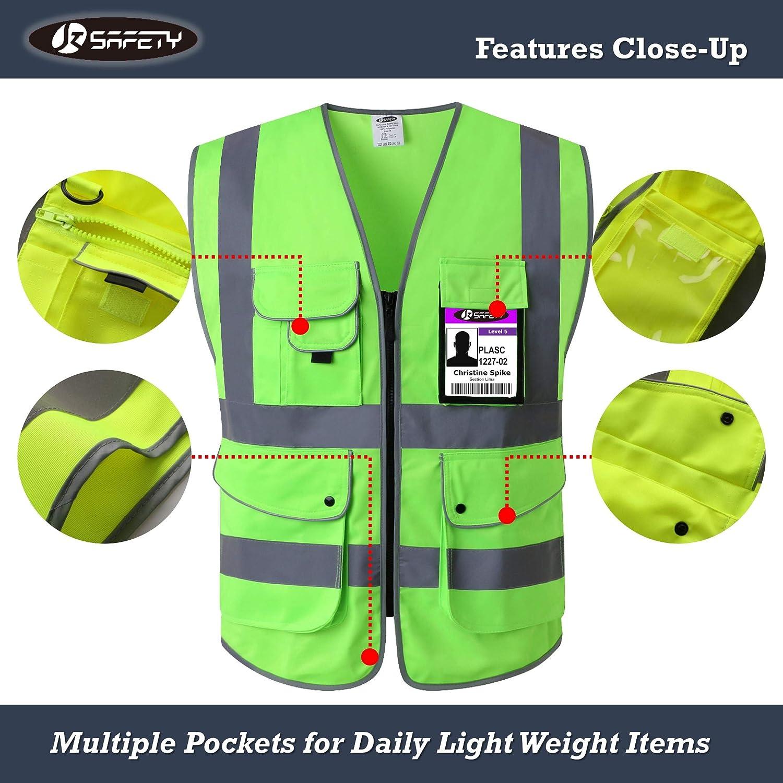 JKSafety Nueve bolsillos Nivel 2 Uniforme trabajo Chaleco con cremallera-Chaleco reflectante fluorescente-Chaleco de segurida Verde X-Large