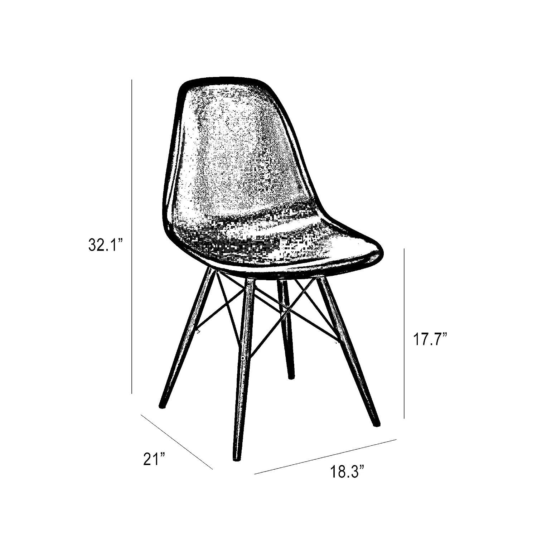 Design Lab MN Trige Side Chair with Walnut Base Dark Grey Seat Set of 2