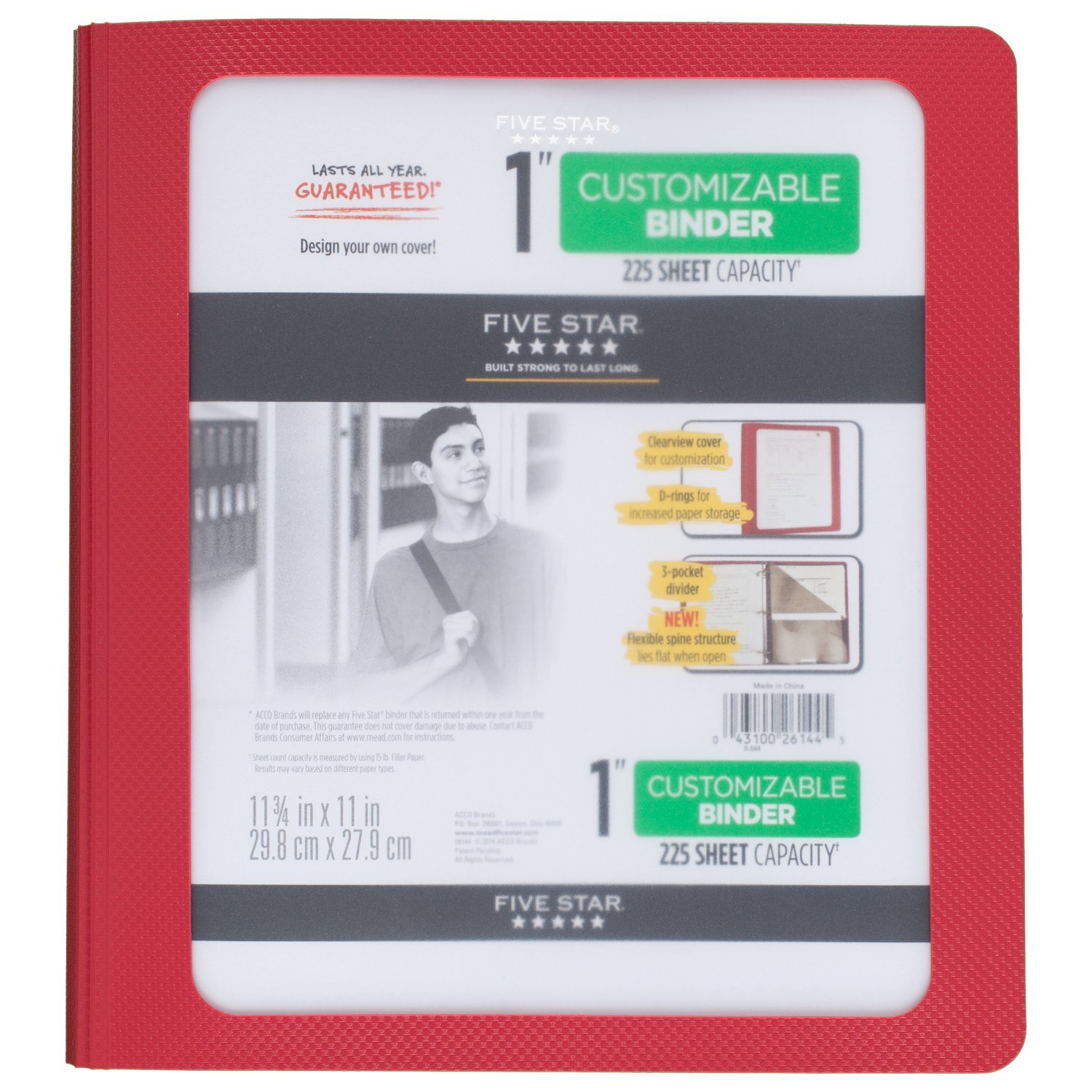 Five Star 1 Inch 3 Ring Binder, View Binder, Customizable Cover, Red (73352)