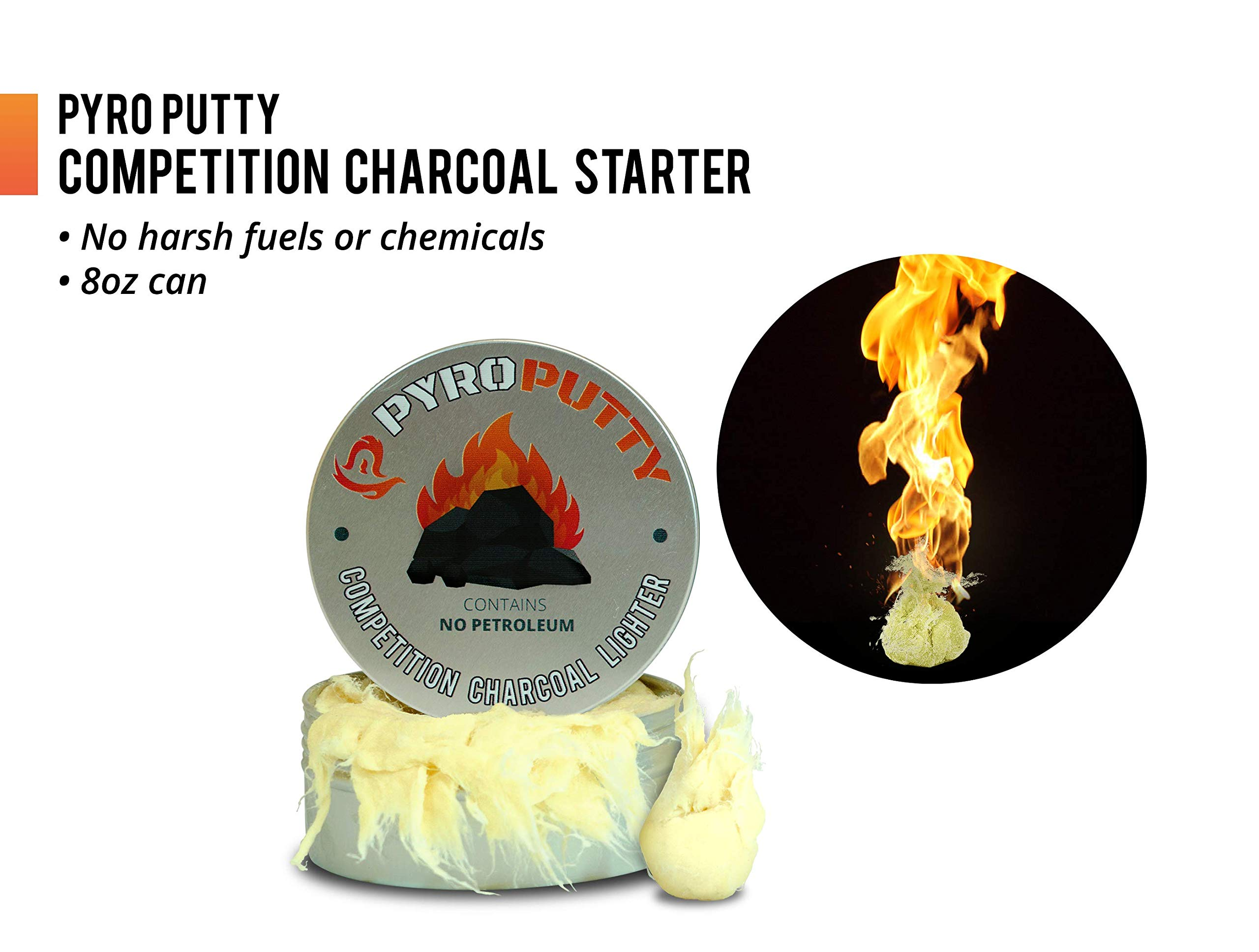 Phone Skope Pyro Putty Competition Charcoal Briquette Fire Starter for Grills, Smokers NO Petroleum ECO Blend Chemical Free Bulk 8oz can! (8 OZ Charcoal Starter)