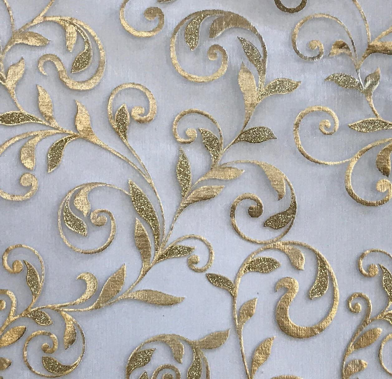 CurtainCityNewYork NY Metallic Floral Organza Sheer 6 Yards Scarf Valance Gold, 216L X 50W