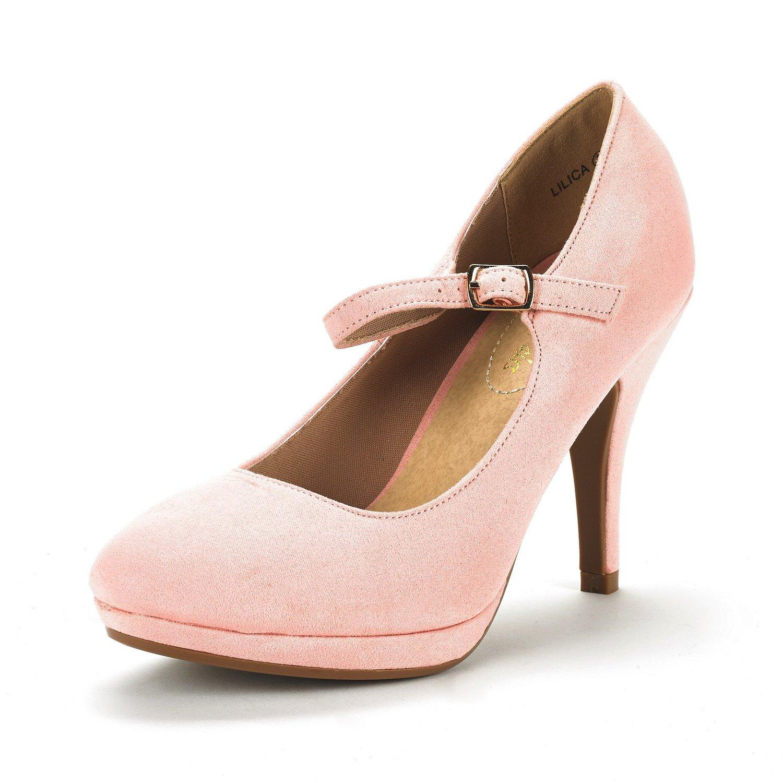 DREAM PAIRS Women's LILICA Pink Suede Mary-Jane Close Toe Stilleto Platform Heel Pump Shoes - 9 M US