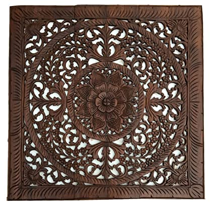 amazon com tropical bali wood carved wall art panels large square